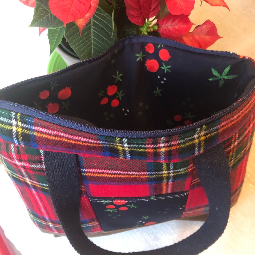 Red Plaid Flannel Mini Explorer Tote