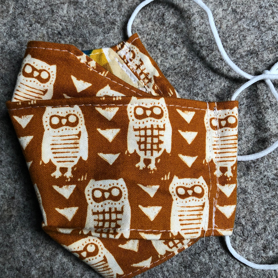 Owl box pleat face mask for AC
