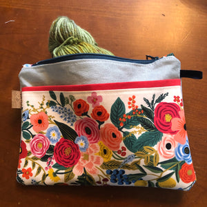 White Floral Zip Pouch
