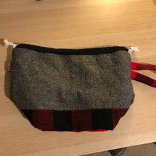 Load image into Gallery viewer, Red Buffalo Check small project bag - fleece lined