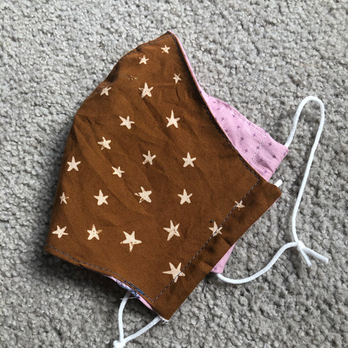 Brown stars fabric mask