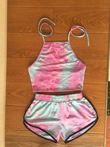 Tie-Dye Gradient Halter Crop Top and Shorts 2 Piece - Vipbeautycompany