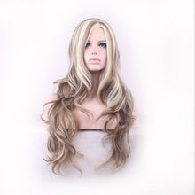 Load image into Gallery viewer, Lady synthetic wig heat blonde mixed color big wave wig - Vipbeautycompany