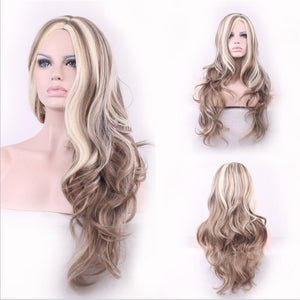 Lady synthetic wig heat blonde mixed color big wave wig - Vipbeautycompany