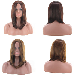 Short Straight Wig Women Centre Parting Party Cosplay Hairpiece Hair Decor - Vipbeautycompany