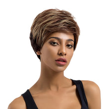 Load image into Gallery viewer, Mix Color Short Human Hair Wig Women Charming Daily Party Cosplay Hairpiece - Vipbeautycompany