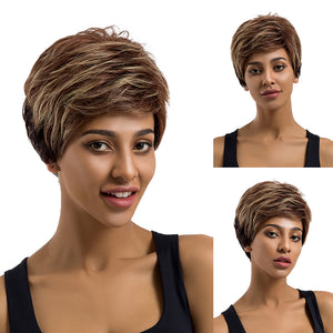 Mix Color Short Human Hair Wig Women Charming Daily Party Cosplay Hairpiece - Vipbeautycompany