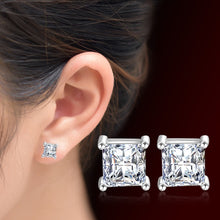 Load image into Gallery viewer, Women's AAA Cubic Zirconia Synthetic Diamond Stud Earrings Drop Earrings Classic Elegant Sterling Silver Cubic Zirconia Earrings Jewelry Silver For Wedding Party Daily Casual 1pc - Vipbeautycompany