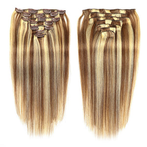 Febay Clip In Human Hair Extensions Straight Remy Human Hair Human Hair Brazilian Hair Medium Brown / Bleached Blonde - Vipbeautycompany