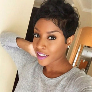 Human Hair Capless Wigs Human Hair Natural Wave Pixie Cut / Short Hairstyles 2019 / With Bangs Halle Berry Hairstyles Cool and Refreshing / African American Wig Short Machine Made Wig Women's - Vipbeautycompany