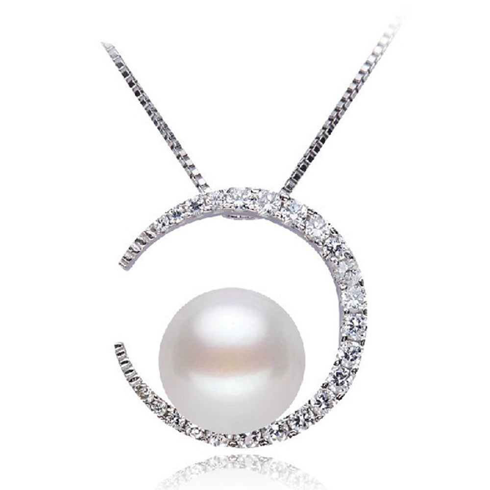 Women's Pendant Necklace Moon Crescent Moon Ladies Classic Fashion Pearl S925 Sterling Silver Silver 45 cm Necklace Jewelry For Daily - Vipbeautycompany