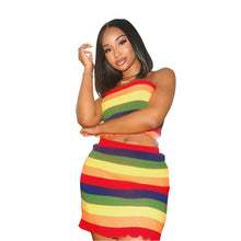 Load image into Gallery viewer, Women's Active Boho Slim Short Set - Striped Rainbow Skirt Off Shoulder - Vipbeautycompany