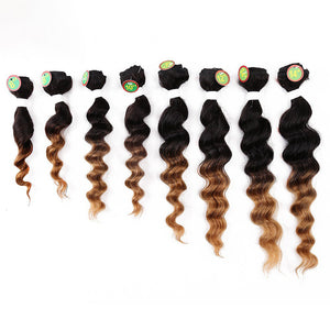 Laflare Weft Hair weave Human Hair Extensions Curly Human Hair Ombre Hair Weaves / Hair Bulk Bundle Hair Human Hair Extensions Brazilian Hair Multi-color 8pcs Woven New Arrival Hot Sale Women's Black - Vipbeautycompany