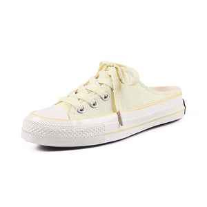 Women's Canvas Summer Casual Sneakers Walking Shoes Flat Heel Round Toe Yellow / Light Yellow / Green - Vipbeautycompany
