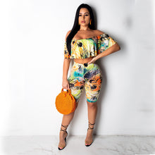 Load image into Gallery viewer, Women's Street chic Sophisticated Loose Short Set - Floral, Ruffle Print Pant Off Shoulder - Vipbeautycompany