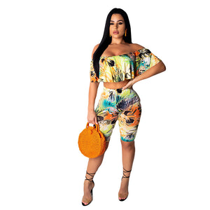 Women's Street chic Sophisticated Loose Short Set - Floral, Ruffle Print Pant Off Shoulder - Vipbeautycompany