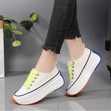 Load image into Gallery viewer, Women's Canvas Spring Casual Sneakers Creepers Round Toe White / Black / Yellow / Color Block - Vipbeautycompany