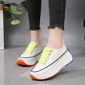 Women's Canvas Spring Casual Sneakers Creepers Round Toe White / Black / Yellow / Color Block - Vipbeautycompany