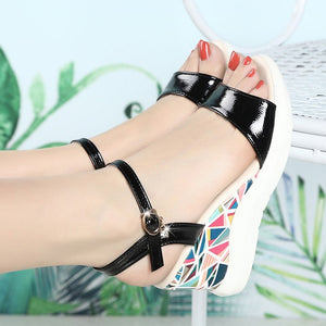 Women's Sandals Wedge Heel PU(Polyurethane) Casual Spring Black / Beige / Color Block - Vipbeautycompany
