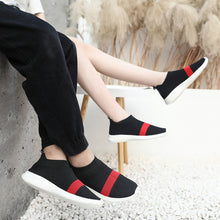 Load image into Gallery viewer, Women's Tissage Volant Spring & Summer / Fall & Winter Sneakers Flat Heel Black / Gray / Black / Red - Vipbeautycompany