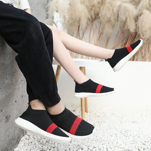 Women's Tissage Volant Spring & Summer / Fall & Winter Sneakers Flat Heel Black / Gray / Black / Red - Vipbeautycompany