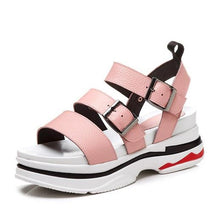 Load image into Gallery viewer, Women's Sandals Comfort Shoes Creepers Nappa Leather Summer White / Black / Pink - Vipbeautycompany