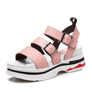 Women's Sandals Comfort Shoes Creepers Nappa Leather Summer White / Black / Pink - Vipbeautycompany
