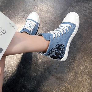 Women's Sneakers Sexy Shoes Wedge Heel Round Toe Canvas Casual / Minimalism Spring & Summer Black / Light Blue / Slogan - Vipbeautycompany