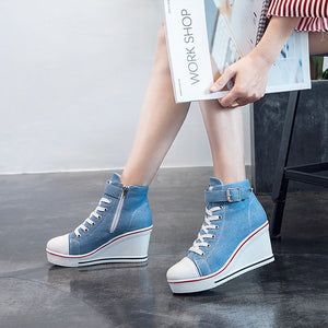 Women's Sneakers Sexy Shoes Wedge Heel Round Toe Stitching Lace Canvas Casual / Minimalism Spring & Summer Blue / Pink / Leopard - Vipbeautycompany