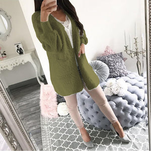 Women's Daily / Going out Spring &  Fall / Fall & Winter Long Coat, Solid Colored Round Neck Long Sleeve Polyester Yellow / Fuchsia / Army Green - Vipbeautycompany