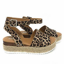 Load image into Gallery viewer, Women's PU(Polyurethane) Summer Casual Sandals Wedge Heel Open Toe Gray / Brown / Leopard - Vipbeautycompany