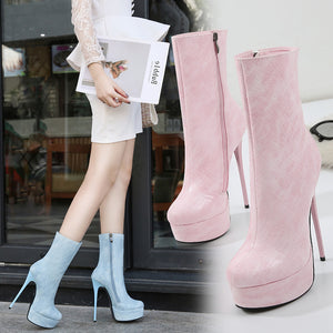 Women's PU(Polyurethane) Fall & Winter Casual Heels Stiletto Heel Mid-Calf Boots Blue / Pink / Almond - Vipbeautycompany