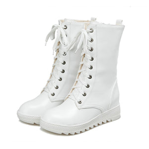 Women's Boots Flat Heel Round Toe Lace-up Leatherette Mid-Calf Boots Snow Boots / Riding Boots Fall / Winter White / Black - Vipbeautycompany
