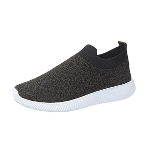 Women's Elastic Fabric / Tissage Volant Spring Casual Sneakers Flat Heel Round Toe Gray / Red / Green / Color Block - Vipbeautycompany