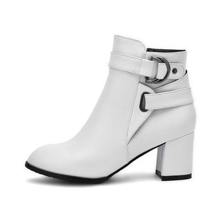 Women's Boots Chunky Heel PU(Polyurethane) Comfort / Fashion Boots Spring / Fall White / Black / Beige - Vipbeautycompany
