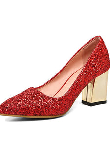 Women's Heels Chunky Heel Pointed Toe Glitter Comfort / Novelty Fall Gold / Silver / Red / Wedding / Party & Evening / Dress / 2-3 / Party & Evening - Vipbeautycompany