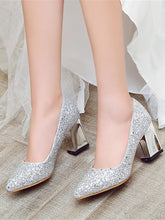 Load image into Gallery viewer, Women's Heels Chunky Heel Pointed Toe Glitter Comfort / Novelty Fall Gold / Silver / Red / Wedding / Party & Evening / Dress / 2-3 / Party & Evening - Vipbeautycompany