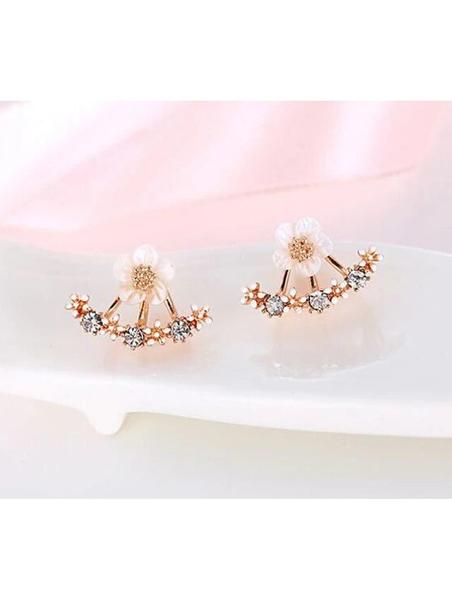 Women's Crystal Stud Earrings Jacket Earrings Flower Daisy Elegant Sterling Silver Crystal S925 Sterling Silver Earrings Jewelry Gold / Silver / Rose Gold For Christmas Wedding Party Special Occasion - Vipbeautycompany