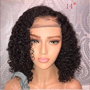 Human Hair Glueless Lace Front Lace Front Wig Bob style Brazilian Hair Curly Wig 130% Density with Baby Hair Natural Hairline African American Wig 100% Virgin Unprocessed Women's Short Human Hair - Vipbeautycompany