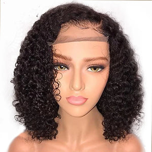 Human Hair Glueless Lace Front Lace Front Wig Bob style Brazilian Hair Curly Wig 130% Density with Baby Hair Natural Hairline African American Wig 100% Virgin Unprocessed Women's Short Human Hair