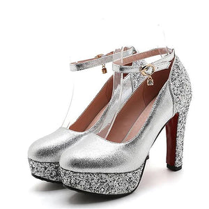 Women's Heels Party Heels Chunky Heel Round Toe Rhinestone PU(Polyurethane) Basic Pump Summer Gold / Silver / Red / Wedding / Party & Evening / Party & Evening / EU42 - Vipbeautycompany