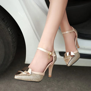 Women's Heels Stiletto Heel Pointed Toe Buckle / Split Joint Customized Materials Comfort / Ankle Strap Walking Shoes Spring / Summer Gold / Black / Silver / Wedding / Party & Evening / 3-4 - Vipbeautycompany