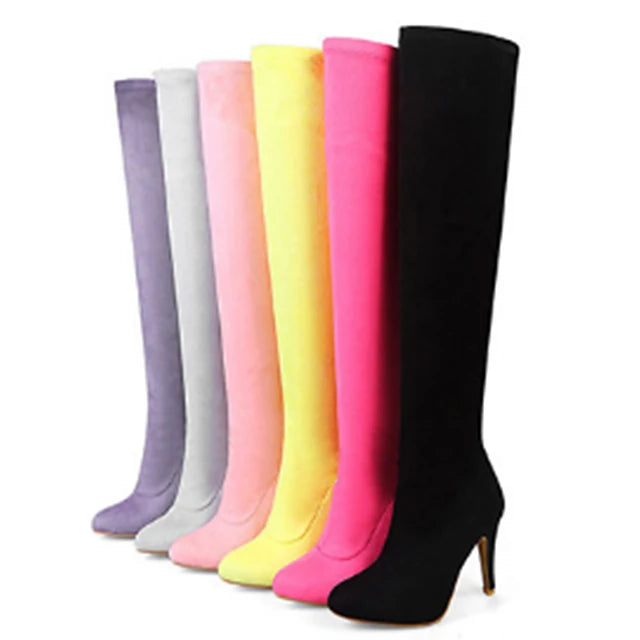 Women's Boots Flat Heel Pointed Toe PU Leather Knee High Boots Comfort / Novelty / Fashion Boots Spring / Fall Yellow / Fuchsia / Pink / Wedding / Party & Evening - Vipbeautycompany