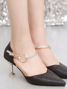Women's Heels Low Heel Pointed Toe Rubber Comfort Spring / Fall Black / Gold / Silver - Vipbeautycompany