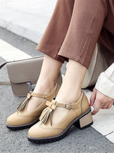 Load image into Gallery viewer, Women's Oxfords Chunky Heel Round Toe PU(Polyurethane) T-Strap Spring & Summer Black / Beige / Brown / Daily / EU40 - Vipbeautycompany