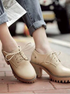 Women's Oxfords Chunky Heel PU(Polyurethane) Comfort Spring & Summer Beige / Gray / Brown / Daily - Vipbeautycompany