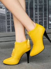 Load image into Gallery viewer, Women's Boots Novelty Shoes Stiletto Heel Pointed Toe Tassel PU(Polyurethane) Booties / Ankle Boots Fashion Boots / Bootie Fall & Winter Black / Yellow / Red / Party & Evening - Vipbeautycompany