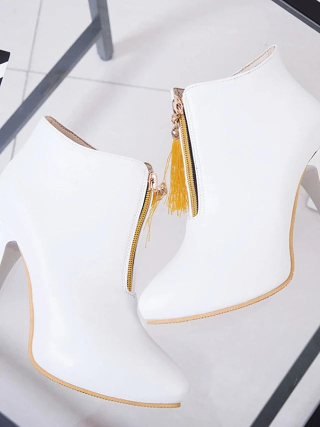 Women's Boots Novelty Shoes Stiletto Heel Pointed Toe Tassel PU(Polyurethane) Booties / Ankle Boots Fashion Boots / Bootie Fall & Winter Black / Yellow / Red / Party & Evening - Vipbeautycompany