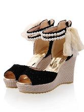Load image into Gallery viewer, Women's Sandals Comfort Shoes Wedge Heel Synthetics Summer Black / Beige - Vipbeautycompany