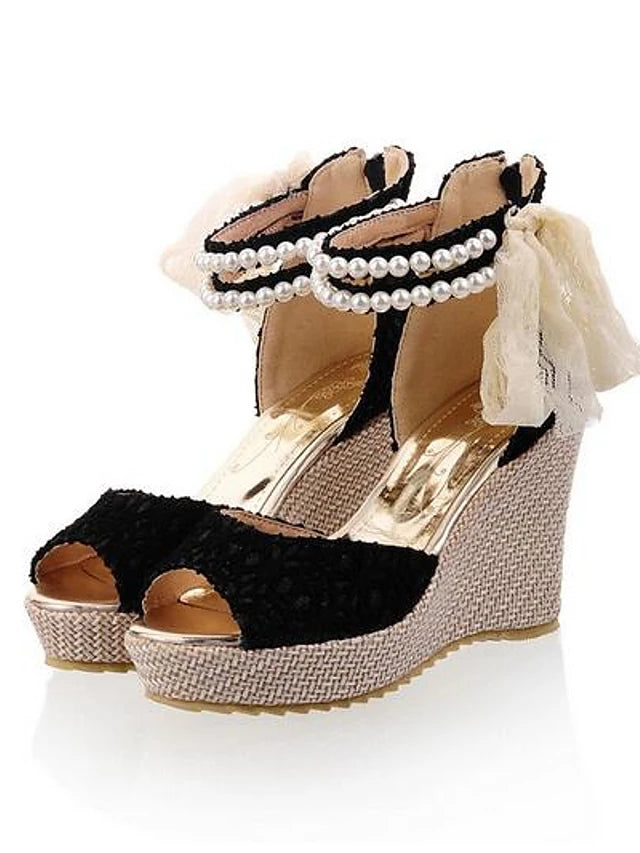 Women's Sandals Comfort Shoes Wedge Heel Synthetics Summer Black / Beige - Vipbeautycompany